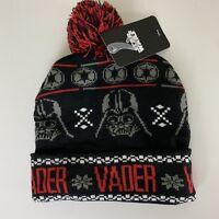 Star Wars Disney Darth Vader Black Red Adult Knit Winter Pom Pom Cuffed Beanie