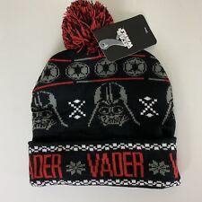 4cc83d648fd Star Wars Disney Darth Vader Black Red Adult Knit Winter Pom Pom Cuffed  Beanie