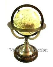 Collectibles World Globe Map Ornament on Wooden Base Nautical Table Top Decor