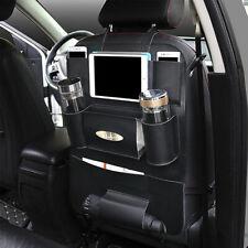 Black Leather Car Seat Back Bag Organizer Storage Phone Holder Multi-Pocket New