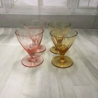 vintage small shot wine glasses 2 brown and 2 pink 1960'0