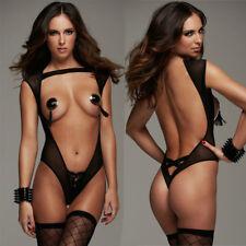 Sexy Women Lingerie Cupless Black Teddy See-through Underwear Babydoll Nightwear