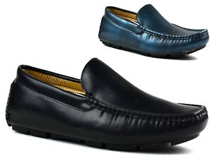Mens SlipOn Casual Moccasin Driving Shoes COMFY LOAFERS BLACK NAVY UK Sizes 6-11