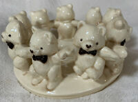 Vintage Ceramic Ring of Teddy Bears Candle Holder Nursery Home Decor Collectible