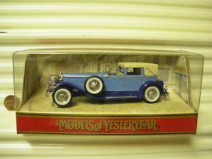 MATCHBOX MODELS OF YESTERYEAR 1990 Y4 1930 BLUE DUESENBERG MDL J TownCar NU BXD*