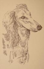 Saluki Dog Art Portrait Print #25 Kline adds dog name free. Drawn from words