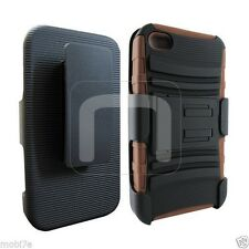 IPHONE 4/4G/4S BROWN BLACK DUAL ANTI SHOCK CASE w/ HOLSTER CLIP COMBO KICKSTAND