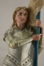 † 20TH SAINT JOAN OF ARC CHALKWARE PLASTER STATUE HAND PAINTED FIGURE FRANCE †