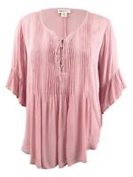 Style & Co. Women's Plus Size Ruffled Pintucked Peasant Top