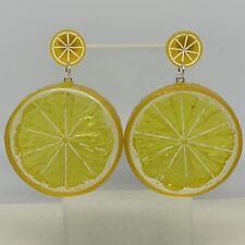 Extra Large Lemon Slice Orange Fruit Earrings Yellow Slice Oversized Studs