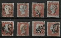 SG8.  1841-1d.Red-Brown.  8 Examples-Good/FU.  Mainly 3 Margins.  Ref.0-128