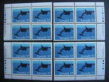 Canada killer whale Ut 1173i MNH matched set of 4 plate blocks!