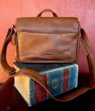 PIQUADRO Computer/Laptop Messenger Bag Flap Cross Body Brown Leather ITALY