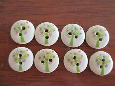 8 x 15mm Natural Wooden Buttons Green Trees with Pink Stars 2 holes No.713