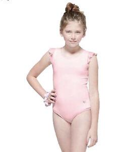 Justice Girl's Size 10 Flutter Strappy Leotard & Scrunchie Set in Pink New