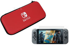 Funda bolsa de transporte duro ROJO + Protector de Pantalla para Consola Nintendo Switch