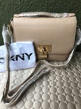 DKNY DONNA KARAN Heritage Lock Top Handle Purse Sand Crossbody Bag