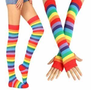 New Rainbow Knee High Socks and Arm Warmer Fingerless Glove LGBT Gay Pride Set