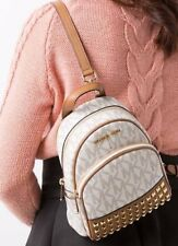 NWT Michael Kors Abbey XS Studded Mini Backpack Crossbody MK Vanilla Signature