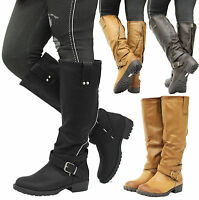 Womens Riding Biker Ladies Leather Style Low Heel Zip Knee High Boots Shoes Size