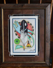 Indian Art Wall Frame Picture Print Cervantes 2000 Feather Tepee Bird
