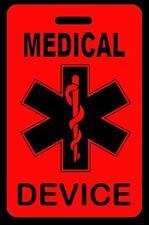Hi-Viz Red Medical Device Carry-On Bag Tag - CPAP BiPAP APNEA POC
