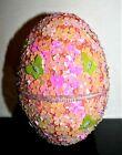 Beautiful Godiva 5' Sequin / Beaded Butterflies Motif Easter Egg Container, New