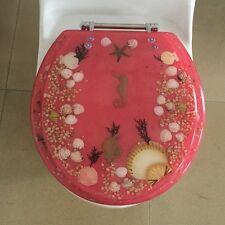 "Elongated Seahorse Seashells Acrylic Oval shaped Toilet Seat Rose 19"" Inch"