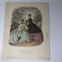 "La Mode Illustree 1862 No. 225 Paris Ladies Women Fashion Vtg Print 14"" x 18"""
