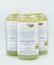 1 Frasco Tea Tree Aceite de Neem & Líquido Cuerpo y lavado de cara 100% natural SLS Free 250ml