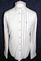 FAT FACE Mens White Striped Large Long Sleeved Shirt