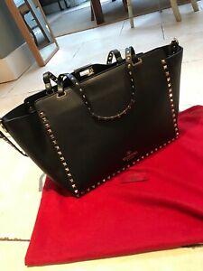 VALENTINO Black Vitello Leather Rockstud Tote Bag