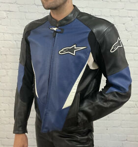 Alpinestars Mens Black Blue White Perforated Leather Padded Motorcycle Jacket 44