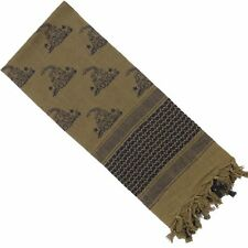 Tea Party Don't Tread on Me Snake Shemagh Military Scarf in Desert Tan & Black