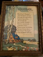 """Antique MOTHERS DAY POEM by John Jarvis Holden """"MOTHER ! HOME!""""  ART DECO PRINT"""