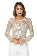 Nude Gold / White Mesh Floral Embroidered Long Sleeve Crop Top, S, M, L