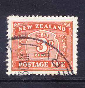 NEW ZEALAND 1939 SGD44 3d Postage Due wmk sideways inverted - fine used. Cat £25