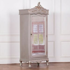 French Silver Single Door Armoire With Mirrored Door Country/Shabby Chic