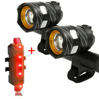 T6 LED Rear&Front Set 15000LM Bicycle MTB Lights Bike Headlight USB Rechargeable
