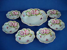 VINTAGE NIPPON HAND PAINTED 7 PIECE BOWL SET - FLORAL WITH GOLD TRIM