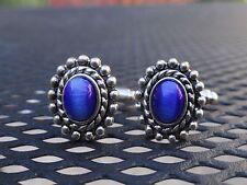 Azul Forma Elíptica Vidrio Gemelos Artístico Artsy Hecho a Mano, Semental Oval