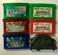 NINTENDO Pokemon Ruby Sapphire Emerald Red Green & adapter Game Boy Advance GBA