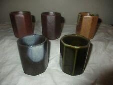 VINTAGE ANTIQUE SET 5 GLAZED ART POTTERY JAPANESE SAKE, TEA GLASS, OCTAGON CUP