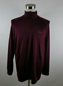 Greg Norman Tasso Elba Mens Stretch Polyester LS 1/4 Zip Maroon Golf Shirt M