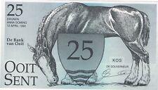 Billet 25 OOIT SENT des Pays Bas daté d'avril 1990. Cheval et cygnes entrelacés.