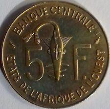 PIÈCE MONNAIE 5 FRANCS BANQUE CENTRALE DE L'AFRIQUE DE L'OUEST 1986 Ref:00203 1)