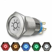 19mm 12V 3A LED Stainless Push Button On/Off Dome Light Switch For Car Boat