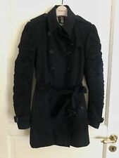 Black short double breasted burberry trench coat size uk 8 6 XS