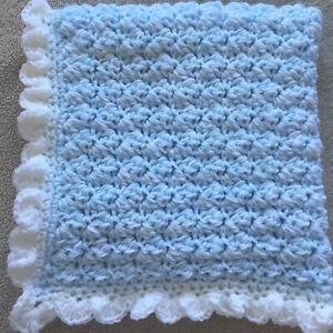 Hand crocheted baby's Chunky blanket /car seat/pram/crib blue and white dk wool.