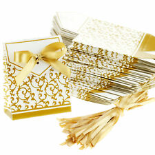 12 Gold Christmas X'mas Party Sweet Gift Boxes Bags Cracker Table Decoration